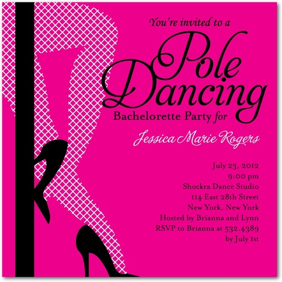 Signature white party invitations, Pole Party