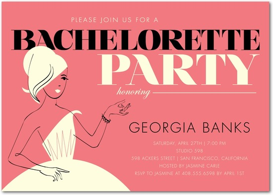 Signature white party invitations, Retro Chic