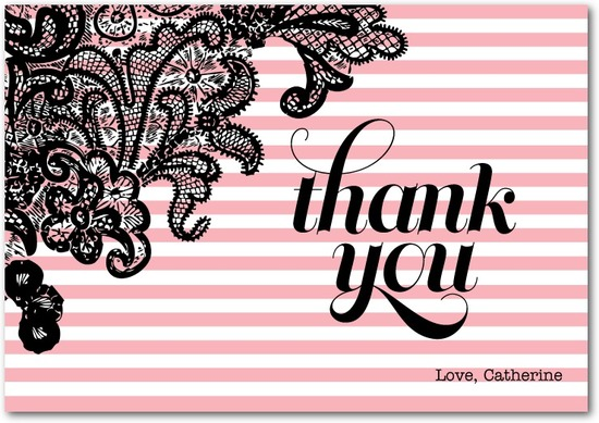 Signature white thank you cards, Secret Stripes