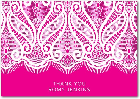 Signature white thank you cards, Lacy Strip