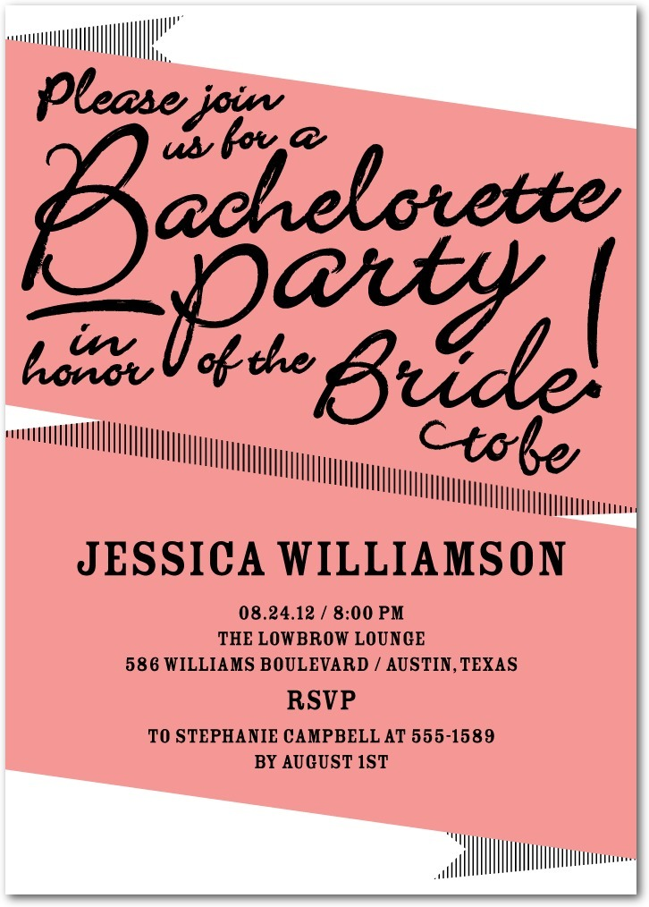 photo of Signature white party invitations, Bachelorette Banner