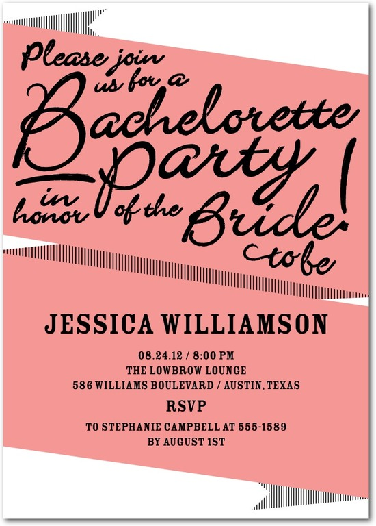 Signature white party invitations, Bachelorette Banner