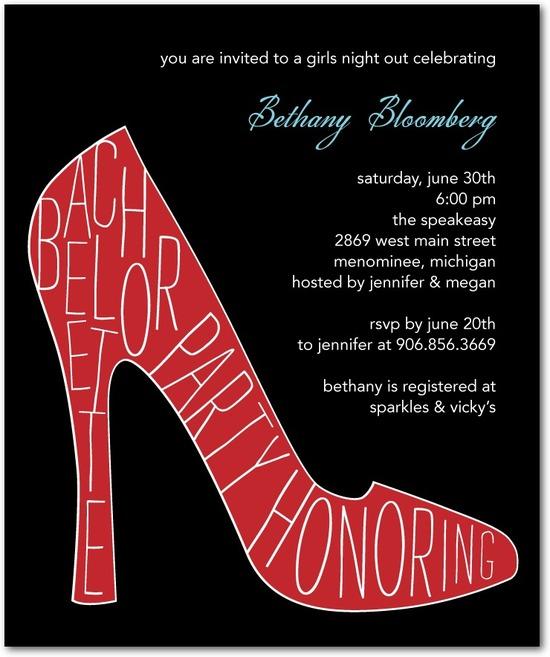 photo of Studio basics: bachelorette party invitations, Letter Stiletto