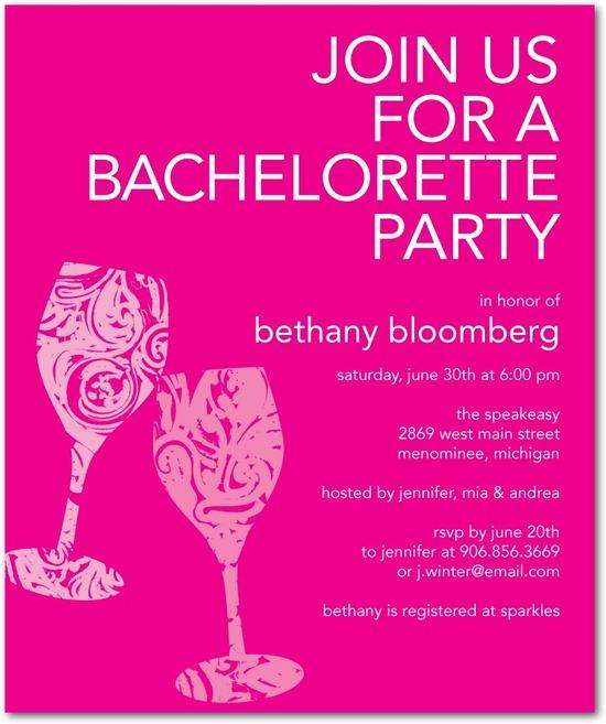 photo of Studio basics: bachelorette party invitations, Swirled Sips