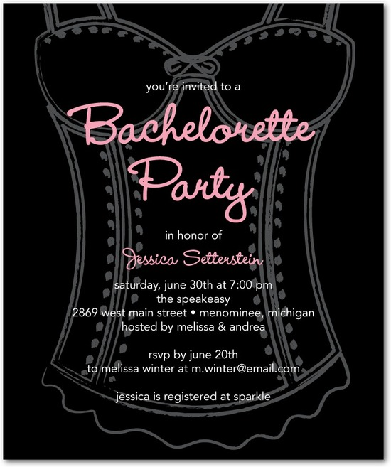 photo of Studio basics: bachelorette party invitations, Classy Corset