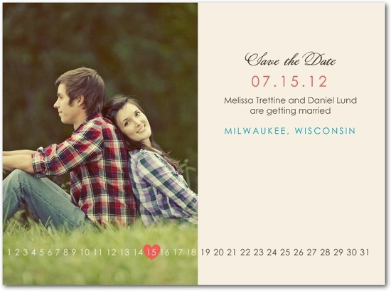 Signature white photo save the date cards, Sweet Date Line