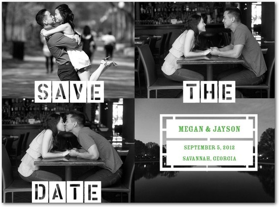 Signature white photo save the date cards, Stencil Us In