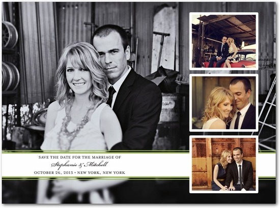 photo of Signature white photo save the date cards, Chic Photo Band