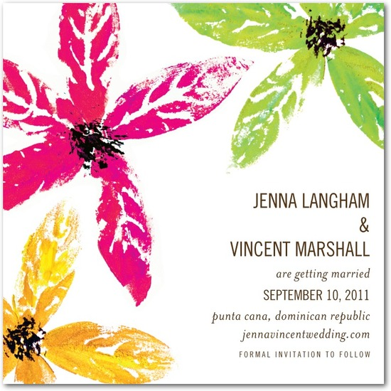 Signature white textured save the date cards, Tropical Style