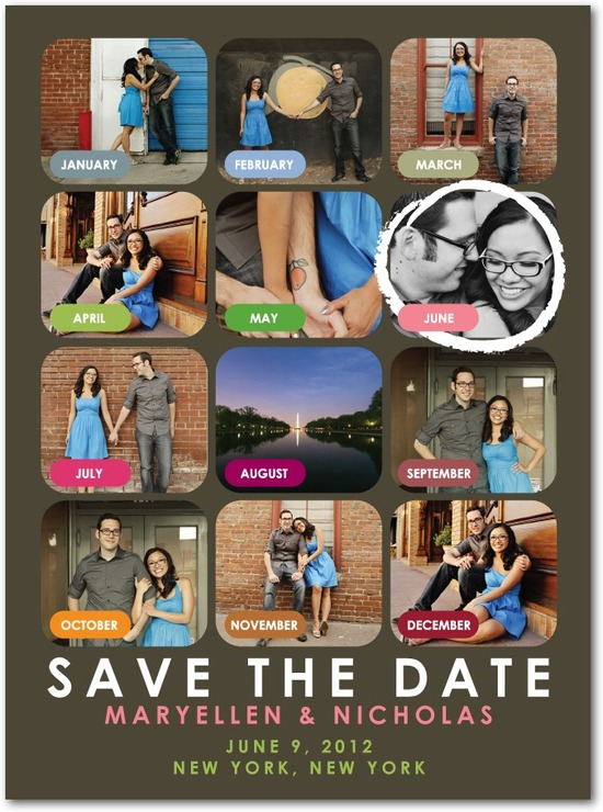 photo of Signature white photo save the date cards, Our Month