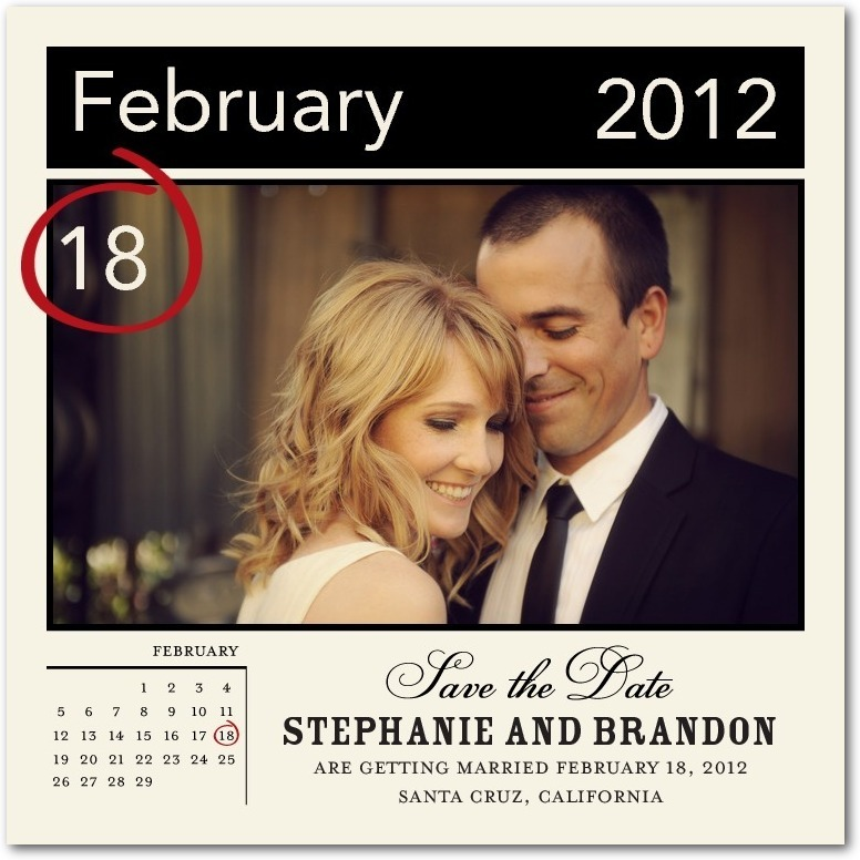 Signature white photo save the date cards, Circle It