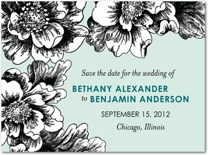 photo of Signature white save the date cards, Etched Flowers