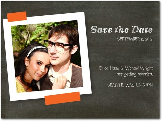 photo of Signature white photo save the date cards, Candid Cute