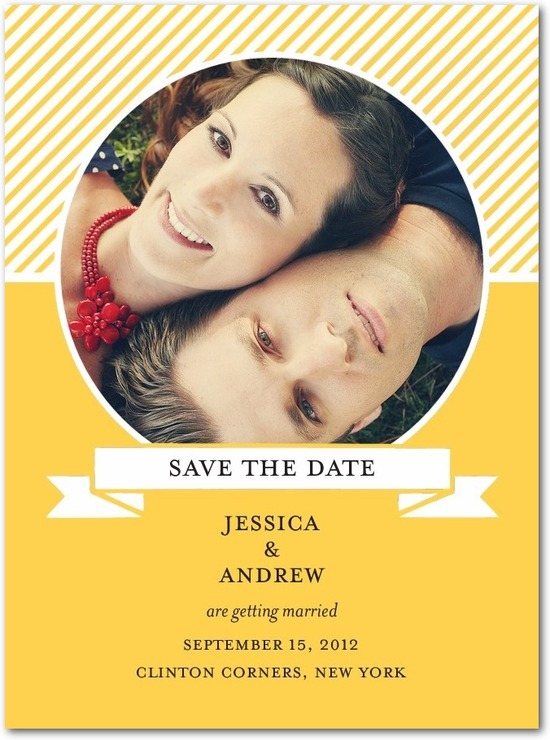 Signature white photo save the date cards, Chic Diagonals