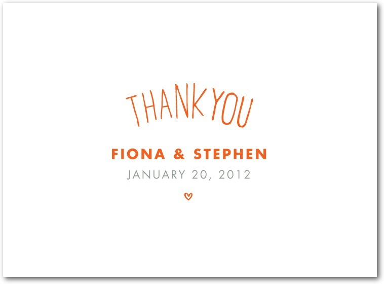 Thermography thank you cards, With These Words