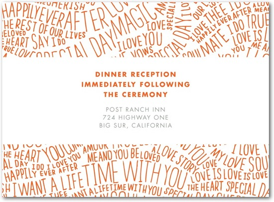 Thermography wedding reception cards, With These Words