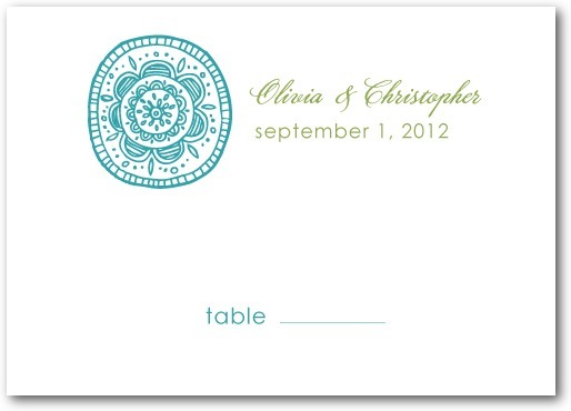 Thermography place cards, Pastoral Medallions