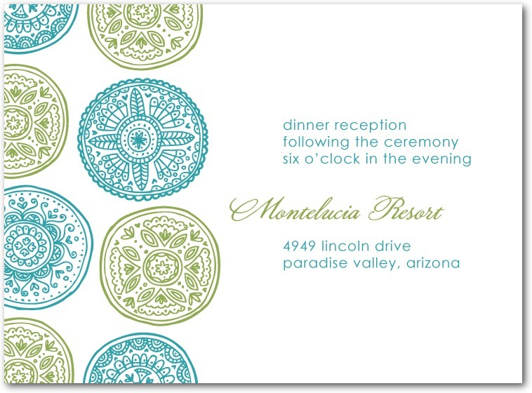 Thermography wedding reception cards, Pastoral Medallions