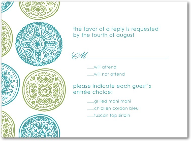 Thermography wedding response cards, Pastoral Medallions