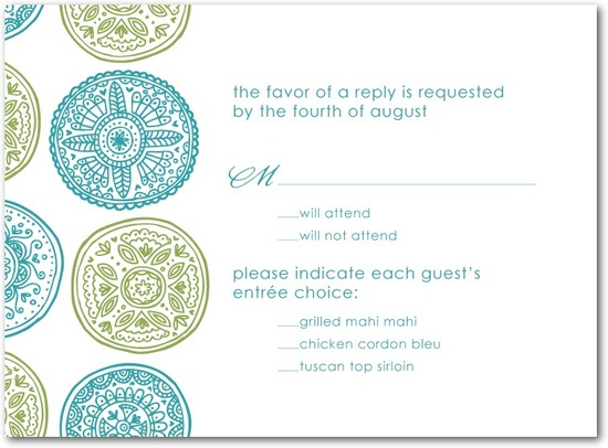 photo of Thermography wedding response cards, Pastoral Medallions