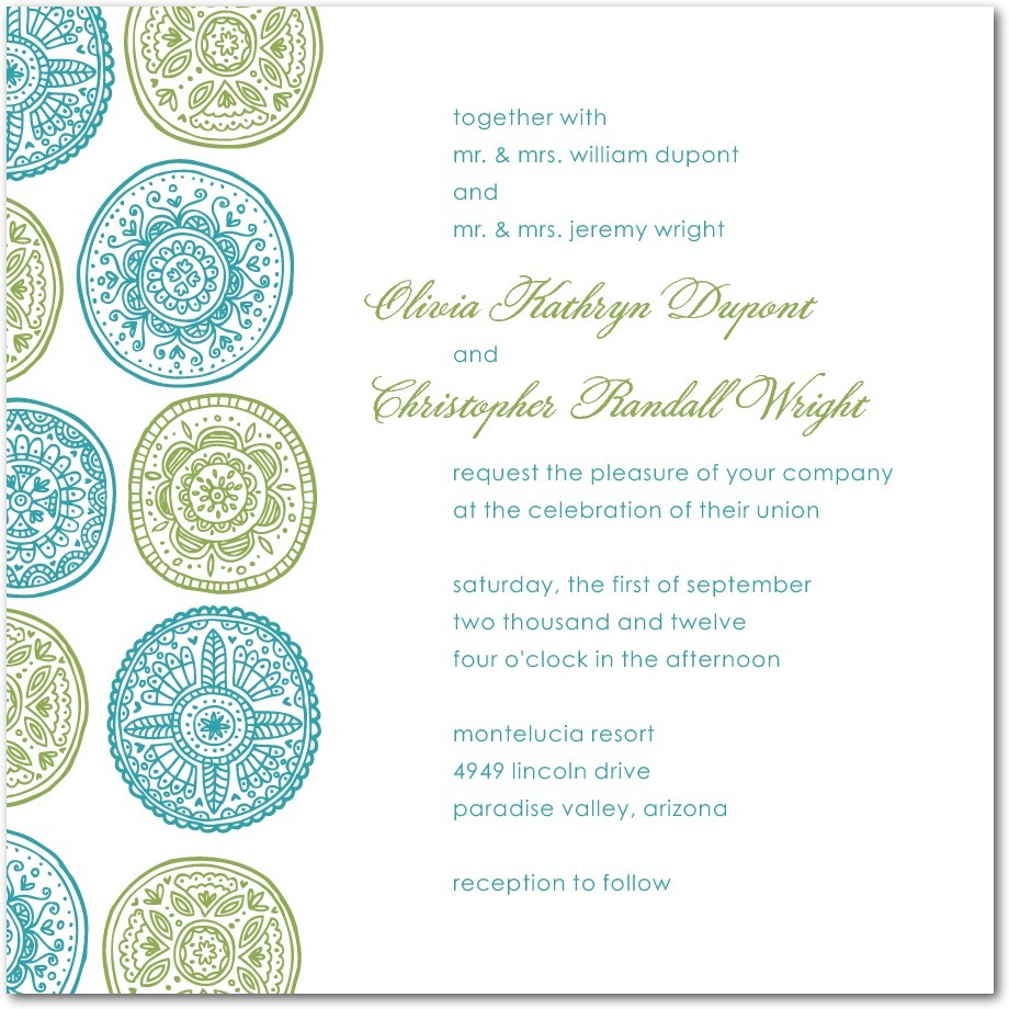 Thermography wedding invitations, Pastoral Medallions