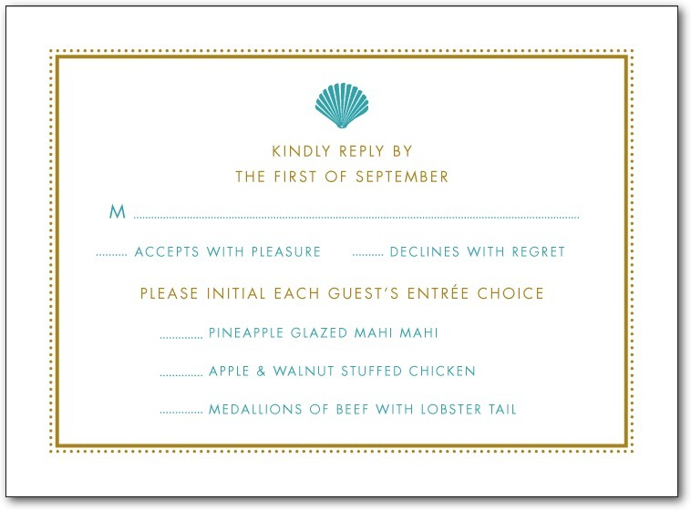 Thermography wedding response cards, Splendid Seashell