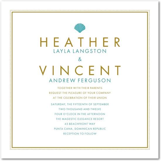 photo of Thermography wedding invitations, Splendid Seashell