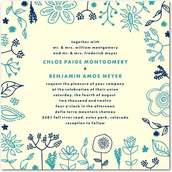 Thermography wedding invitations, Spring Doodles