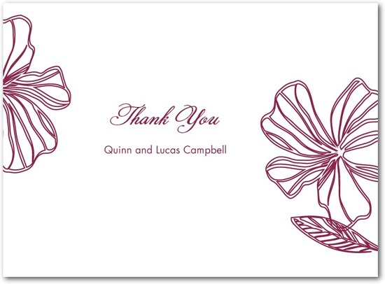 Thermography thank you cards, Tropical Chic