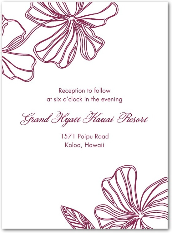 Thermography wedding reception cards, Tropical Chic