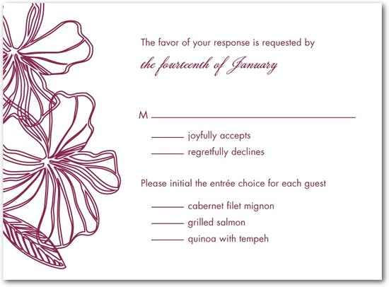 photo of Thermography wedding response cards, Tropical Chic