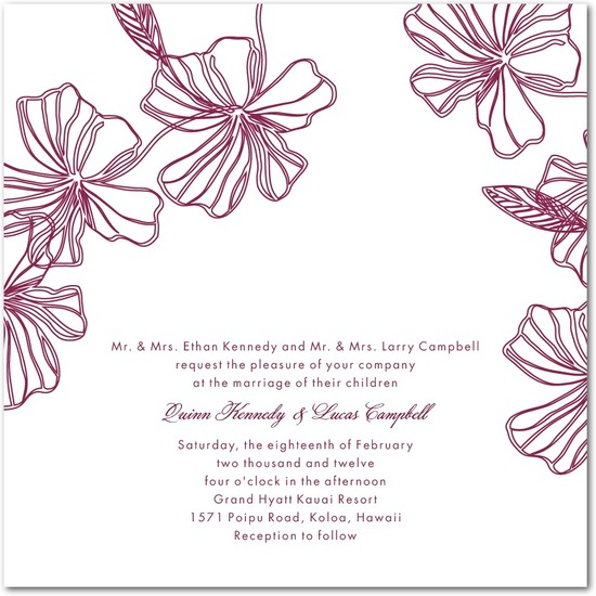Thermography wedding invitations, Tropical Chic