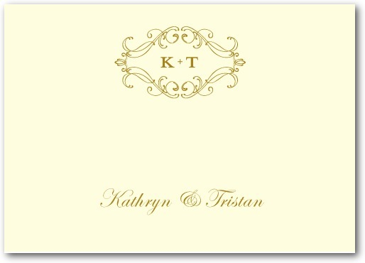 Thermography place cards, Flourish Frame