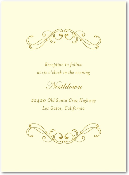 Thermography wedding reception cards, Flourish Frame