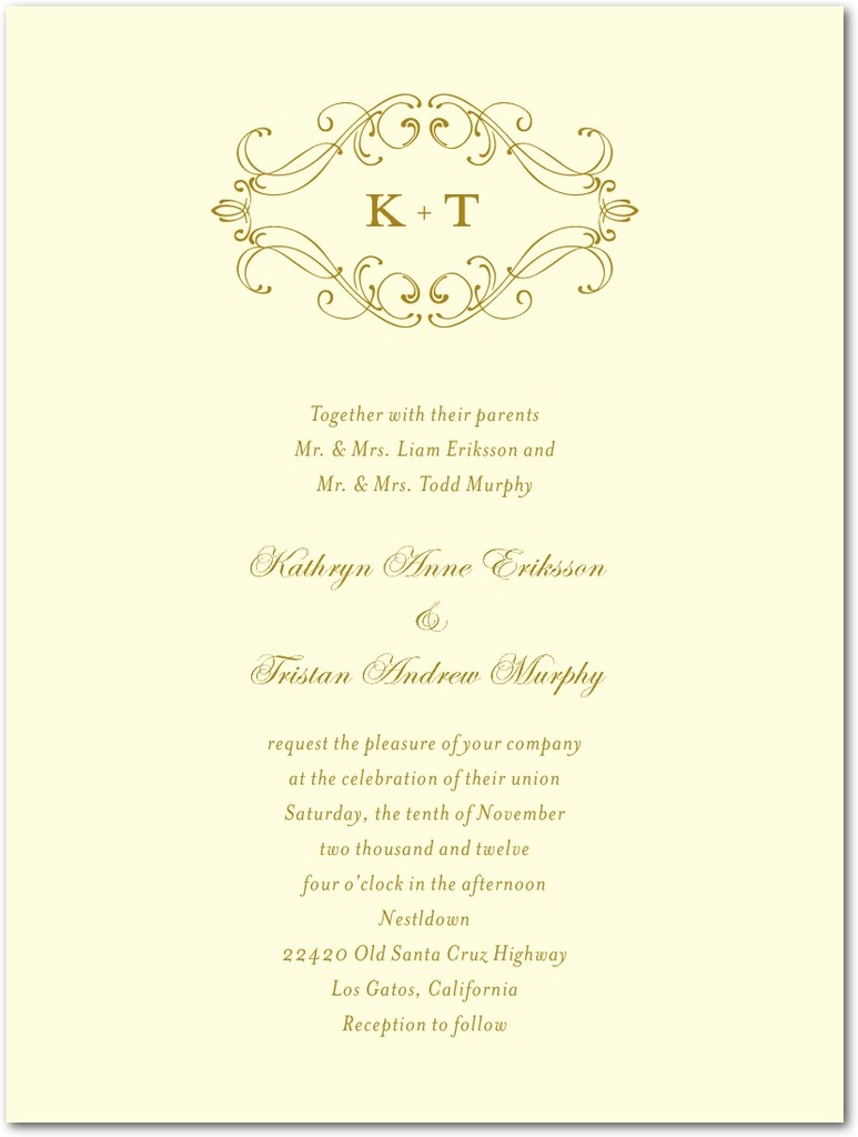 photo of Thermography wedding invitations, Flourish Frame