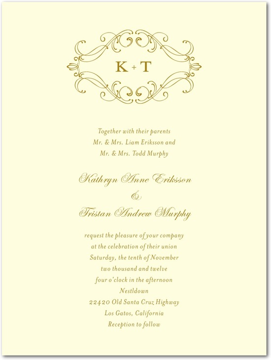 Thermography wedding invitations, Flourish Frame