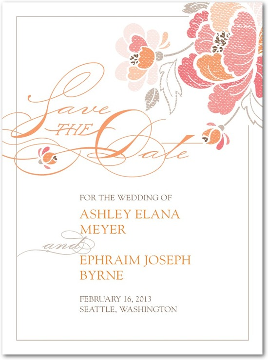 photo of Signature white textured save the date cards, Inspired Peony