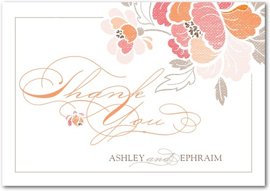 Signature white textured thank you cards, Inspired Peony
