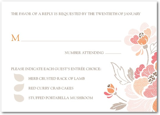 photo of Signature white textured response cards, Inspired Peony