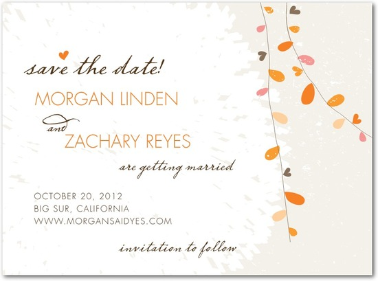 photo of Signature white textured save the date cards, Summer Sway