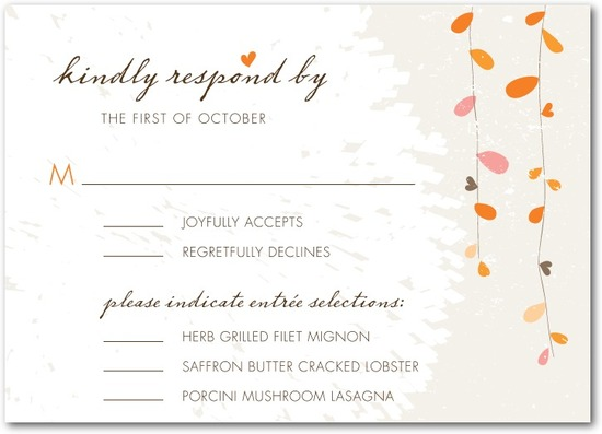 photo of Signature white textured response cards, Summer Sway