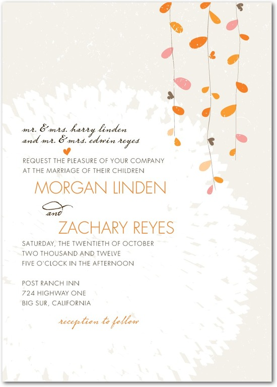 photo of Signature white textured wedding invitations, Summer Sway