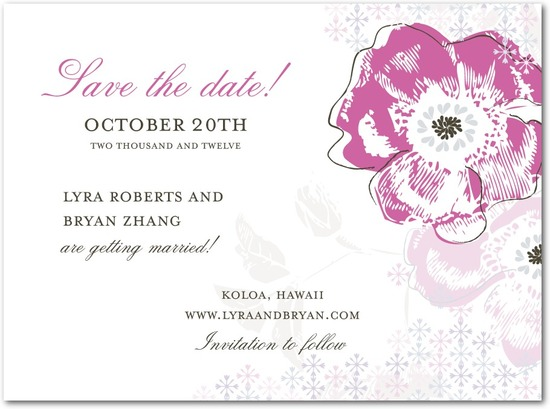 Signature white textured save the date cards, Floral Reflection