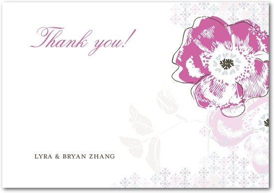 Signature white textured thank you cards, Floral Reflection