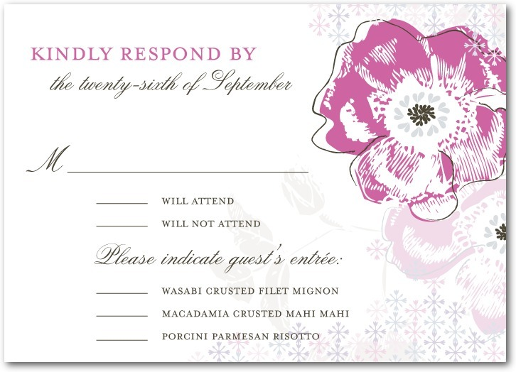 Signature white textured response cards, Floral Reflection