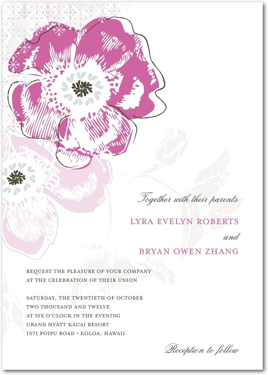 photo of Signature white textured wedding invitations, Floral Reflection