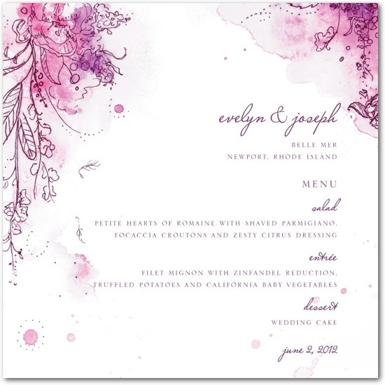 Signature white textured menus, Painterly Passion