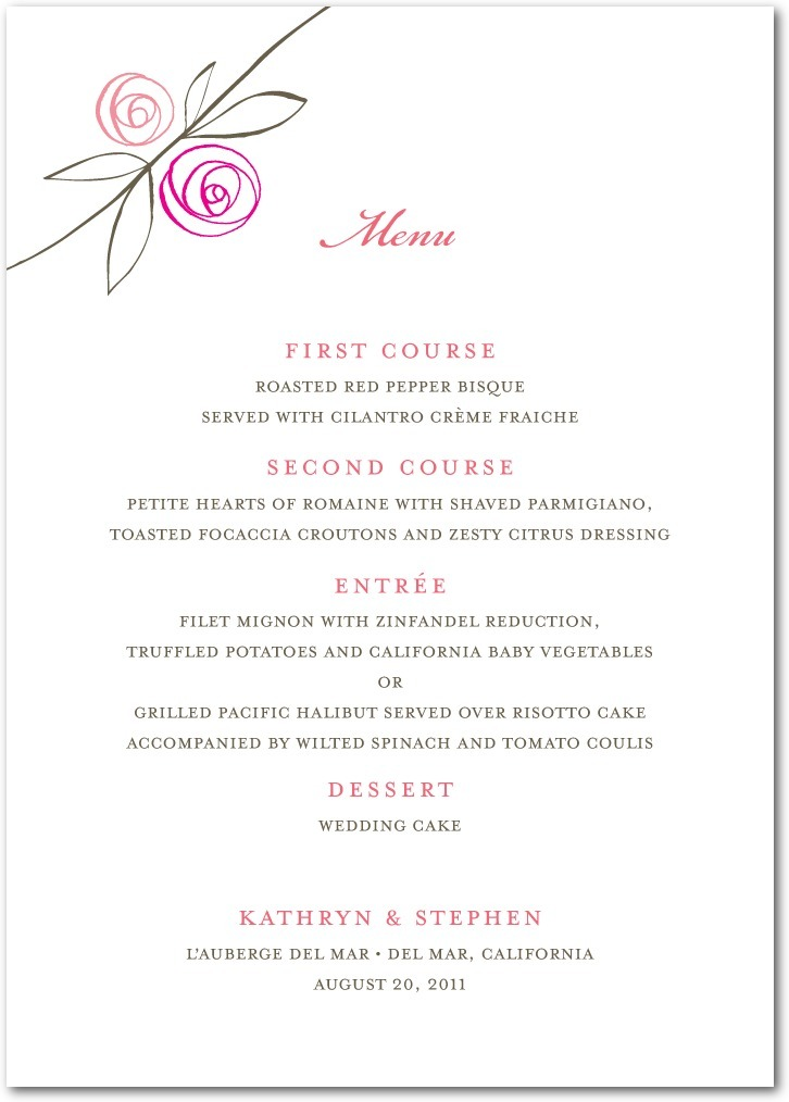 photo of Signature white textured menus, Tea Roses