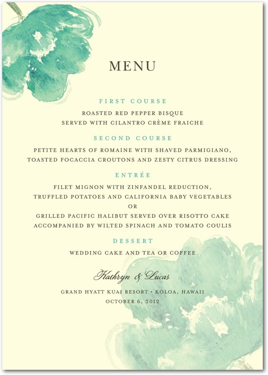 Signature ecru menu cards, Blooming Watercolor