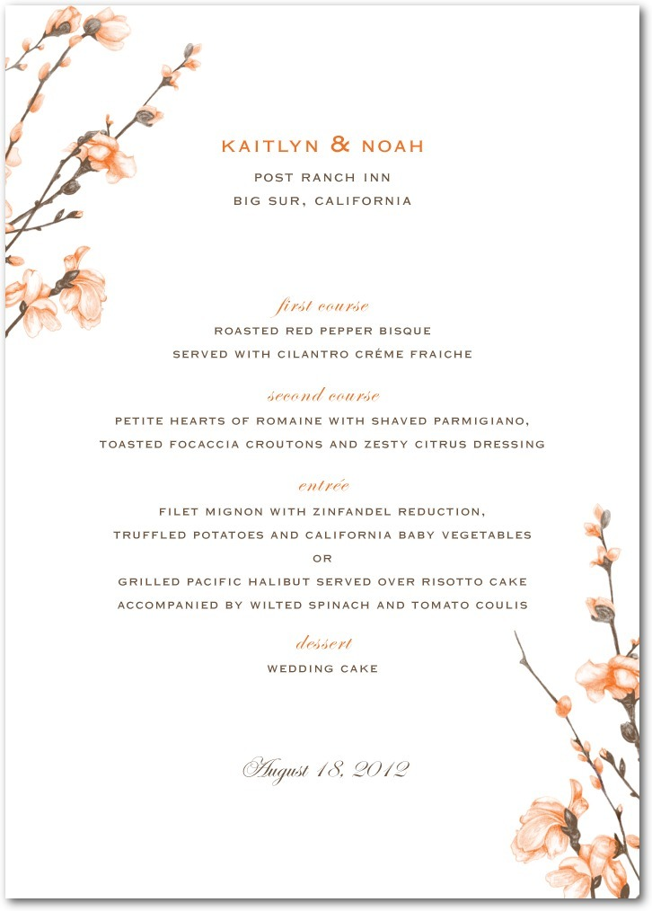 Signature white textured menus, Fine Forsythia